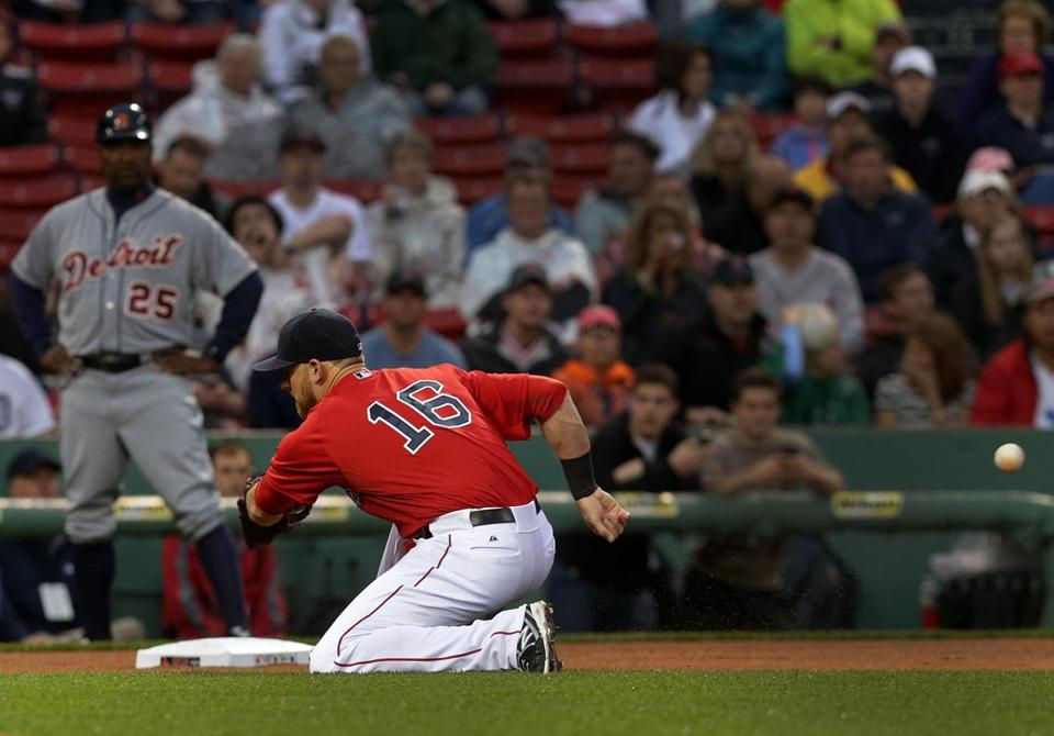 Third baseman Will Middlebrooks suffered a broken finger trying to field a ball batted by Detroit's Ian Kinsler in Friday's game.