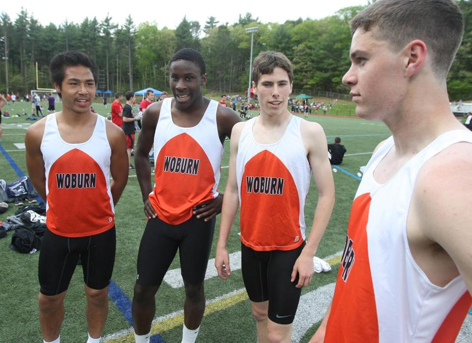 Anthony Nguyen, Preston Gordon, Josh Ercolini, and Chris Jewett, left to right, helped bring a state title to Woburn.