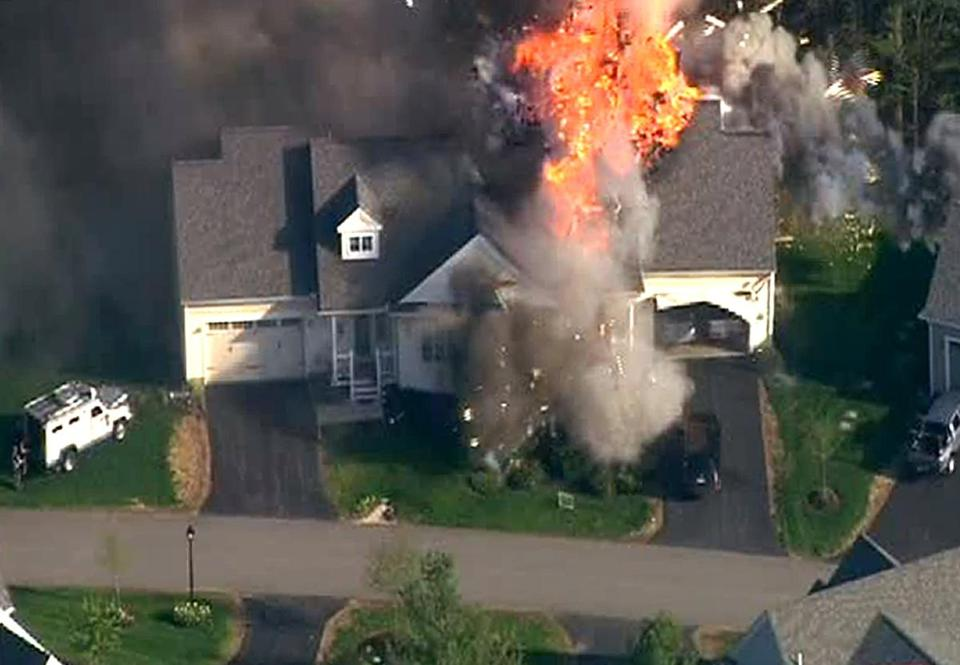 A house exploded and burned in Brentwood, N.H.