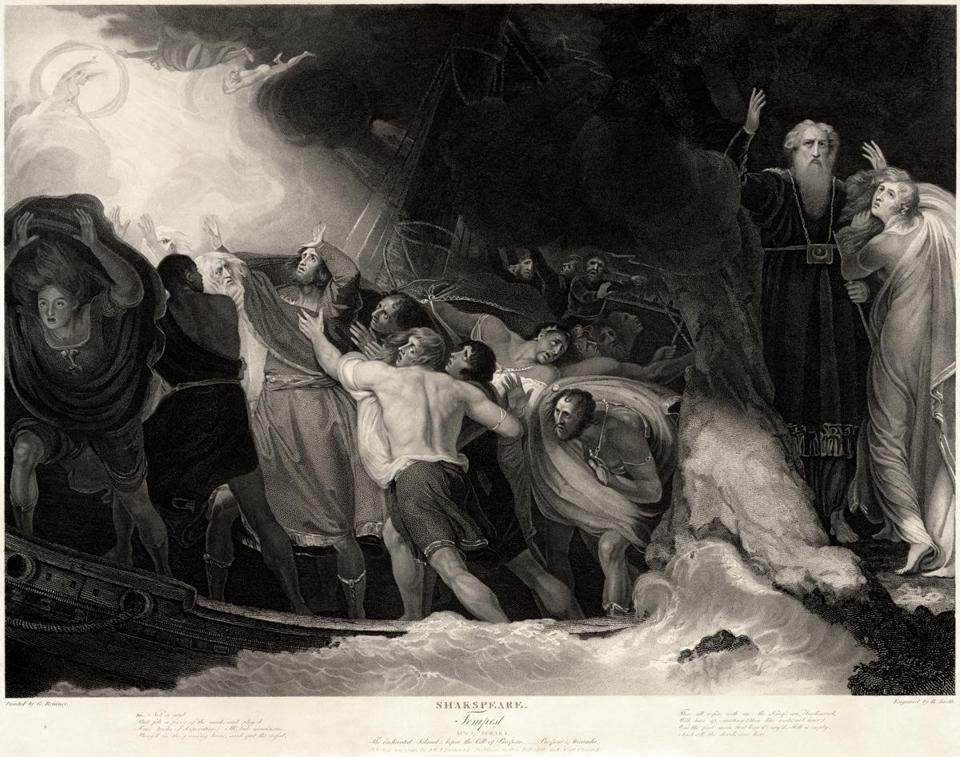 "A scene from ""The Tempest"" by William Shakespeare, in an engraving by Benjamin Smith based on a painting by George Romney."