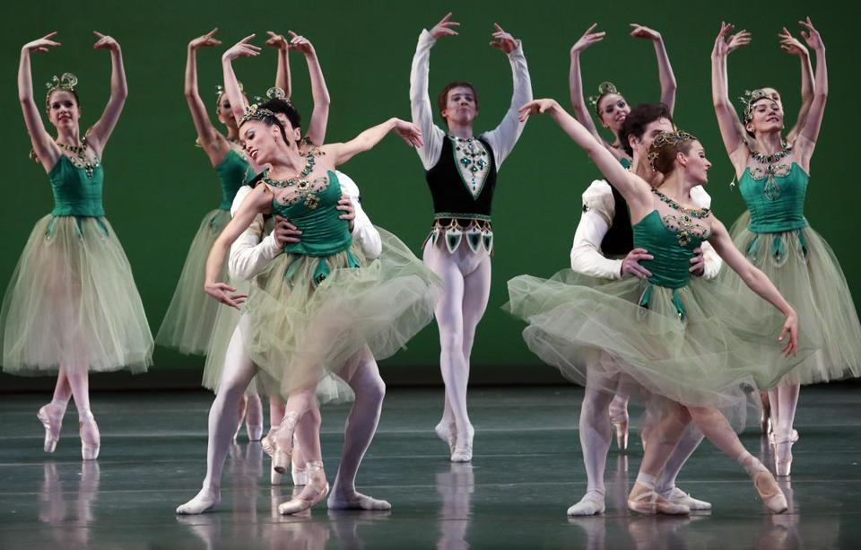 "Boston Ballet dancers rehearse the ""Emeralds"" portion of George Balanchine's ""Jewels"" at the Boston Opera House Thursday."
