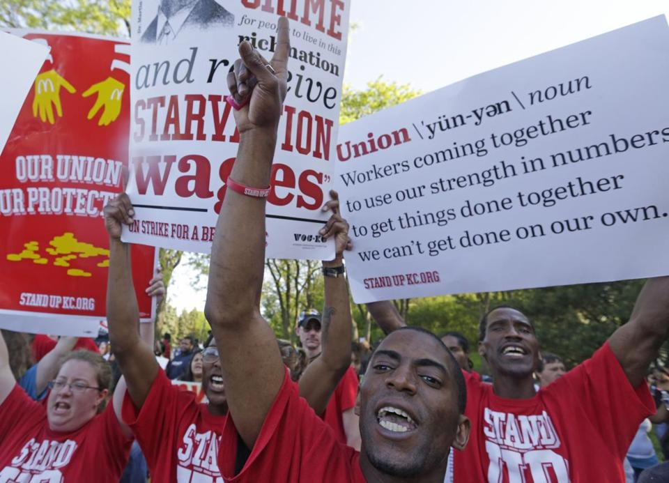 Protesters gathered outside of the McDonald's Corporation in Illinois in May to demonstrate for a $15 hourly wage and the right to unionize.