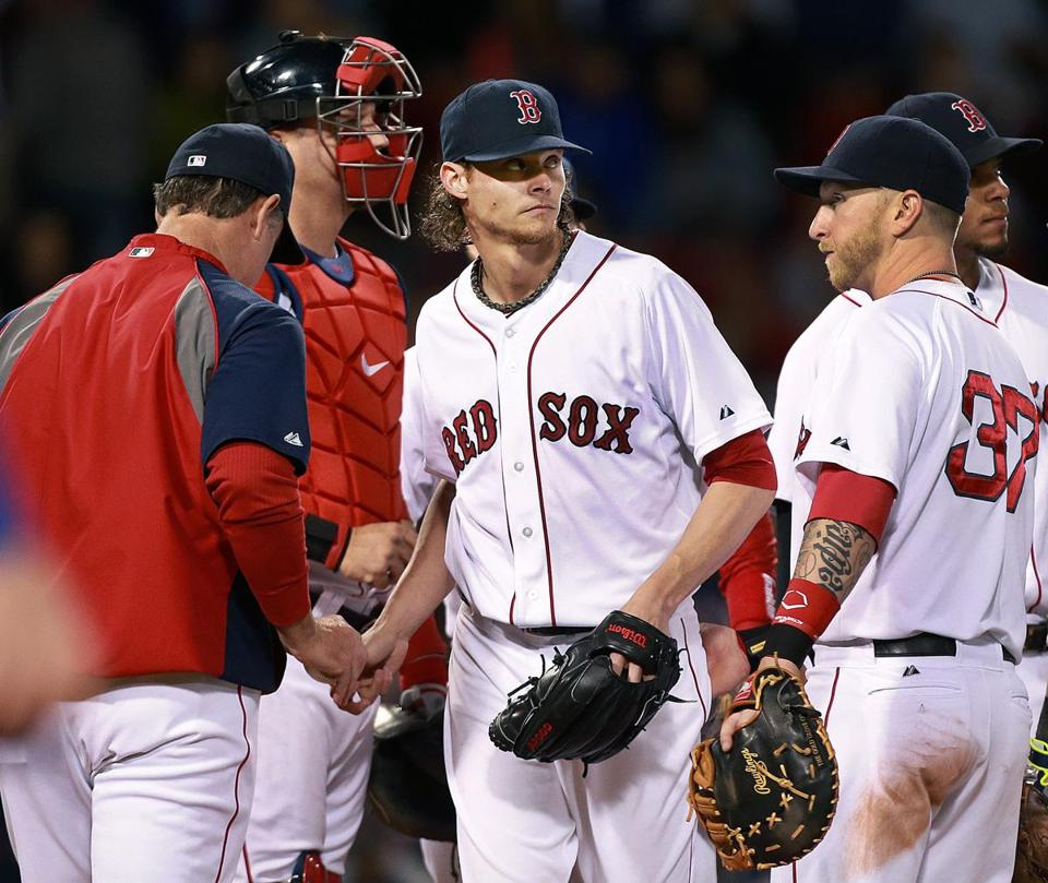 John Farrell took the ball from Clay Buchholz in the fifth inning.