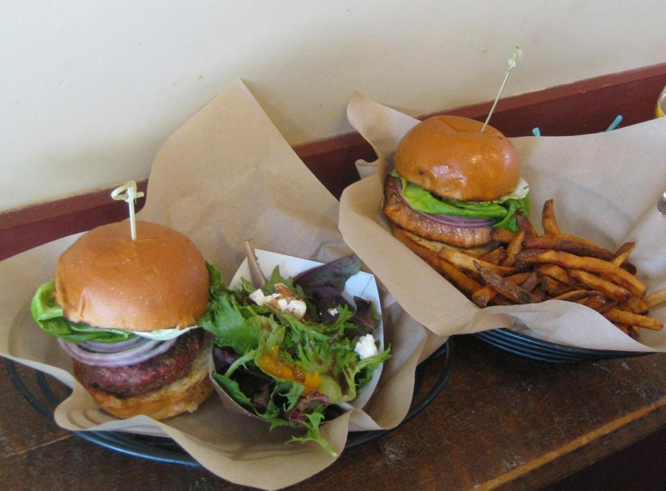 "Burger, left, and ""fish 'wich"" lunches at Worthy Burger."