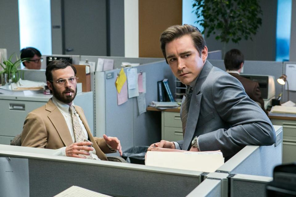 Scoot McNairy (left) as Gordon Clark and Lee Pace as Joe MacMillan in AMC's new drama, set in the days of 1980s PC cloning.