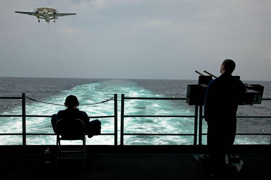 A view aboard the American aircraft carrier USS George H.W. Bush.