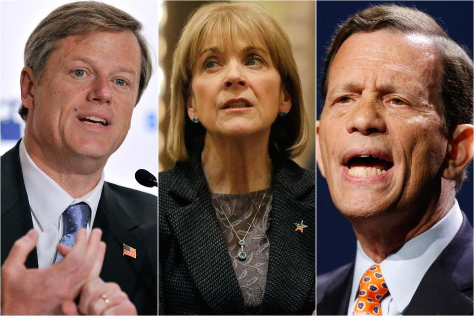 The three candidates with the highest favorability ratings — (left to right) Charlie Baker, Martha Coakley, and Steven Grossman — are also the three candidates who have spent the most money.