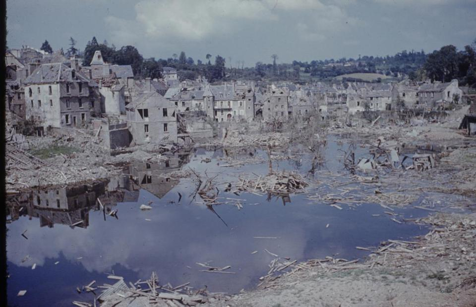 A view of the heavily damaged buildings and rubble-strewn outskirts of St-Lô after D-Day.
