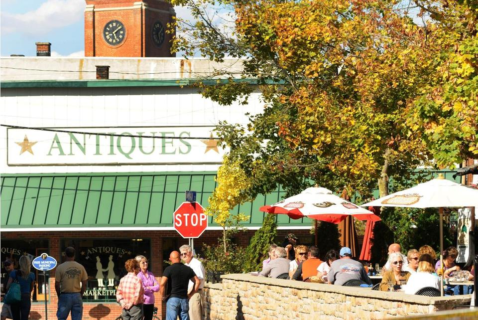 Visitors to Putnam will find no shortage of places to shop for antiques and to dine outdoors.