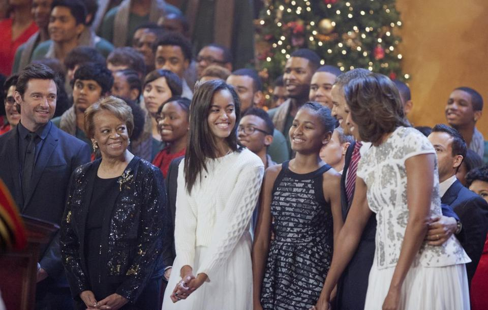 host hugh jackman left looked on at the first family from second left - Christmas In Washington