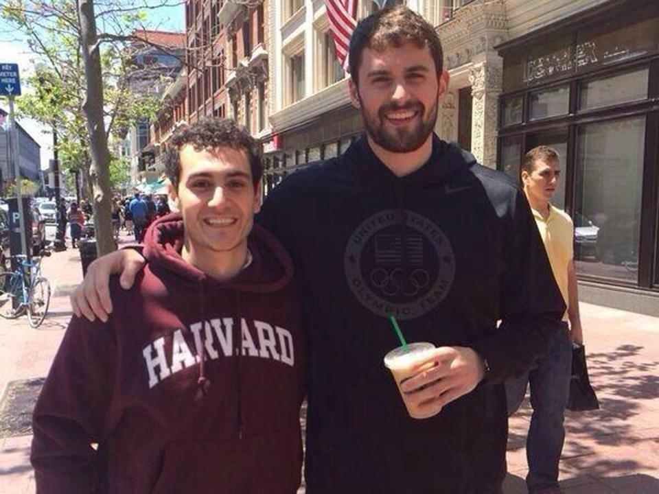 Marc Atiyeh was walking down Boylston Street with his mother on Saturday when he spotted Kevin Love.