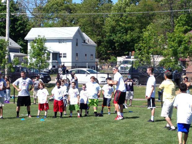Rob Gronkowski held a youth football camp at Melrose High this weekend.