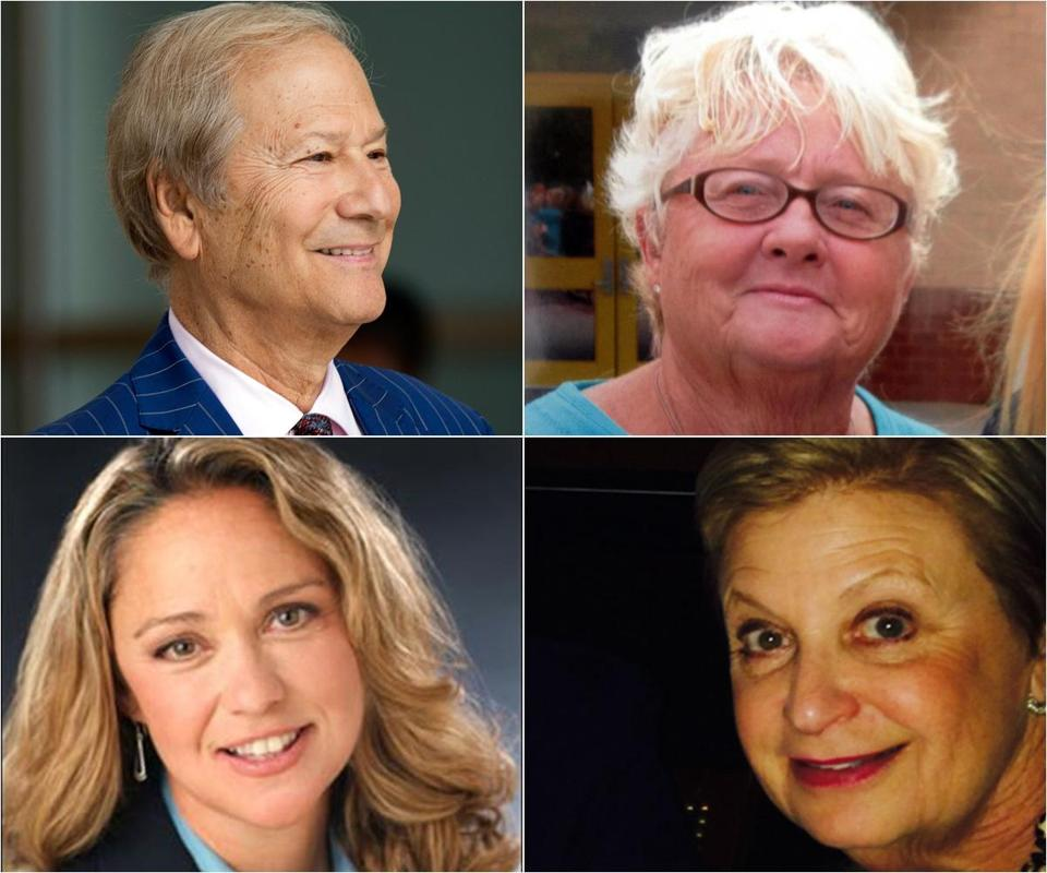 Top row: Businessman Lewis Katz (left) and his neighbor, Anne Leeds. Bottom row: Marcella Dalsey (left), executive director of the Drew A. Katz Foundation, and Susan Asbell, a childhood friend of Katz.