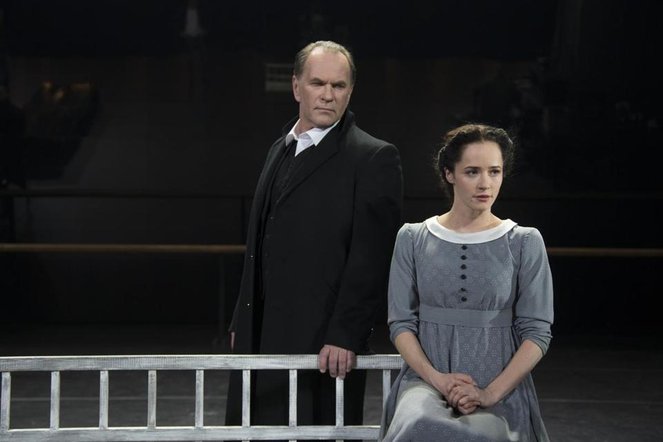 "Cutline: The older Onegin (Alexei Guskov) and young Tatyana (Olga Lerman) in the theatrical adaptation of ""Eugene Onegin."""
