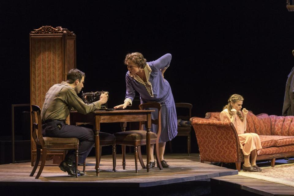 "From left: Zachary Quinto, Cherry Jones, and Celia Keenan-Bolger in ""The Glass Menagerie."""