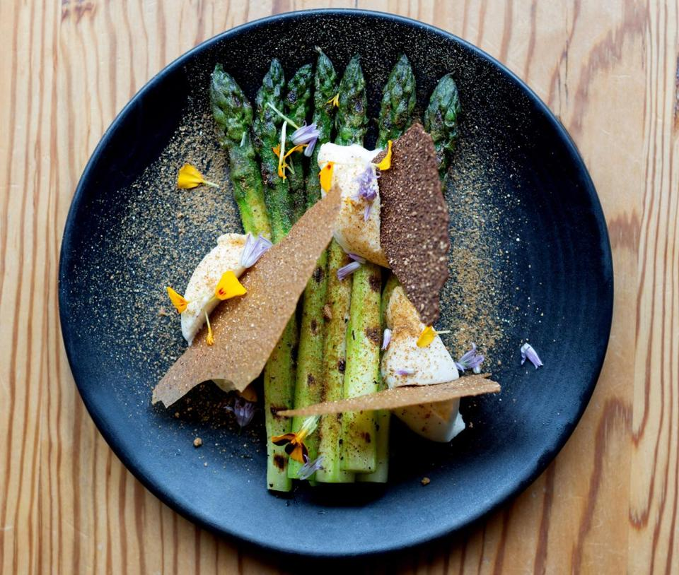 An asparagus dish at West Bridge in Kendall Square.