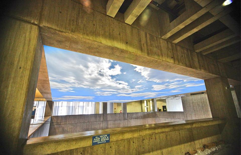 A 55-by-41-foot mural would transform the ceiling of City Hall into a bright blue sky.