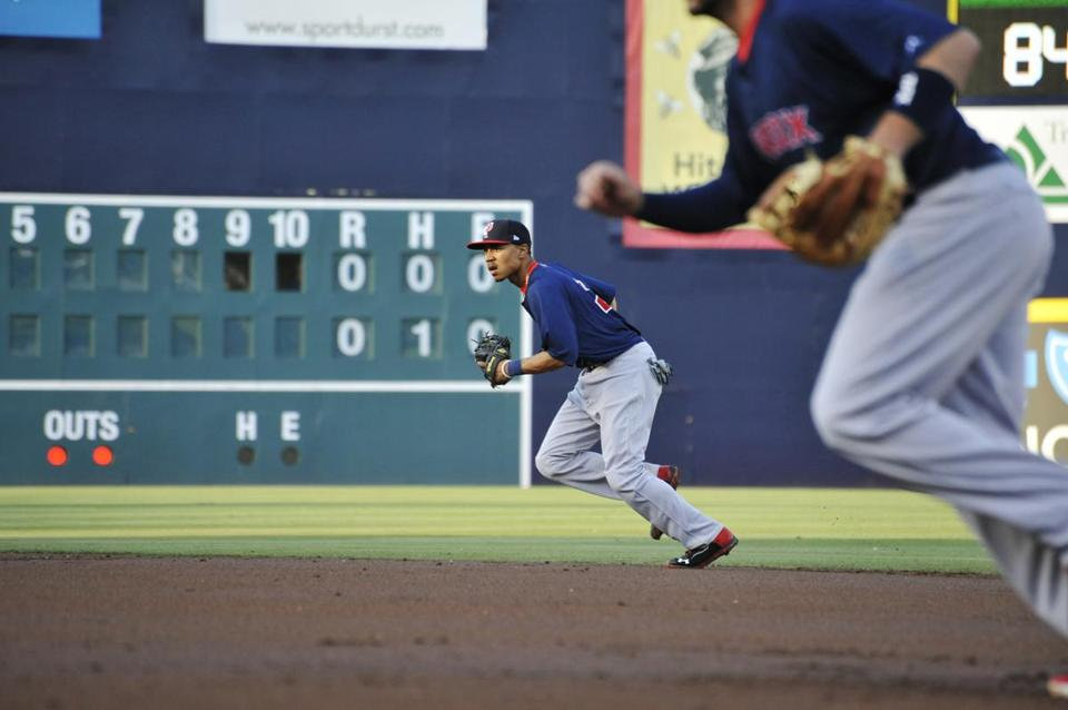 Betts played second base in his first game for Pawtucket, but is expected to get experience in the outfield too.