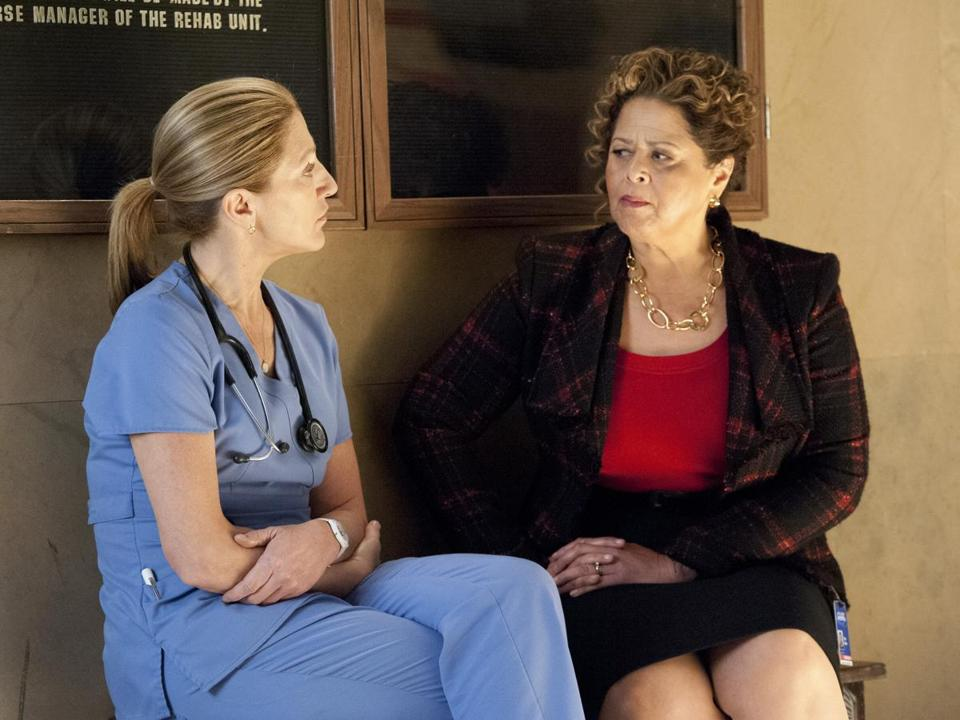 "Edie Falco (left)  and Anna Deavere Smith  in Showtime's ""Nurse Jackie."""