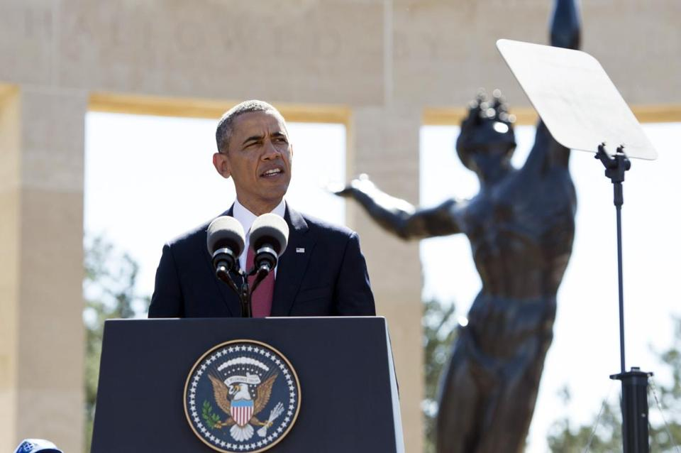 President Obama spoke Friday during a D-Day commemmoration ceremony at the Normandy American Cemetery and Memorial in Colleville-sur-Mer, France.