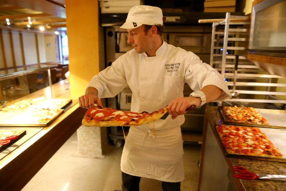 Boston Ma 06/05/2014 Head Pizza Chef Marco Storini (cq) at Scissors and Pie . He is photographed for cheap eats.Globe Staff/Photograph Jonathan Wiggs Topic: Reporter: