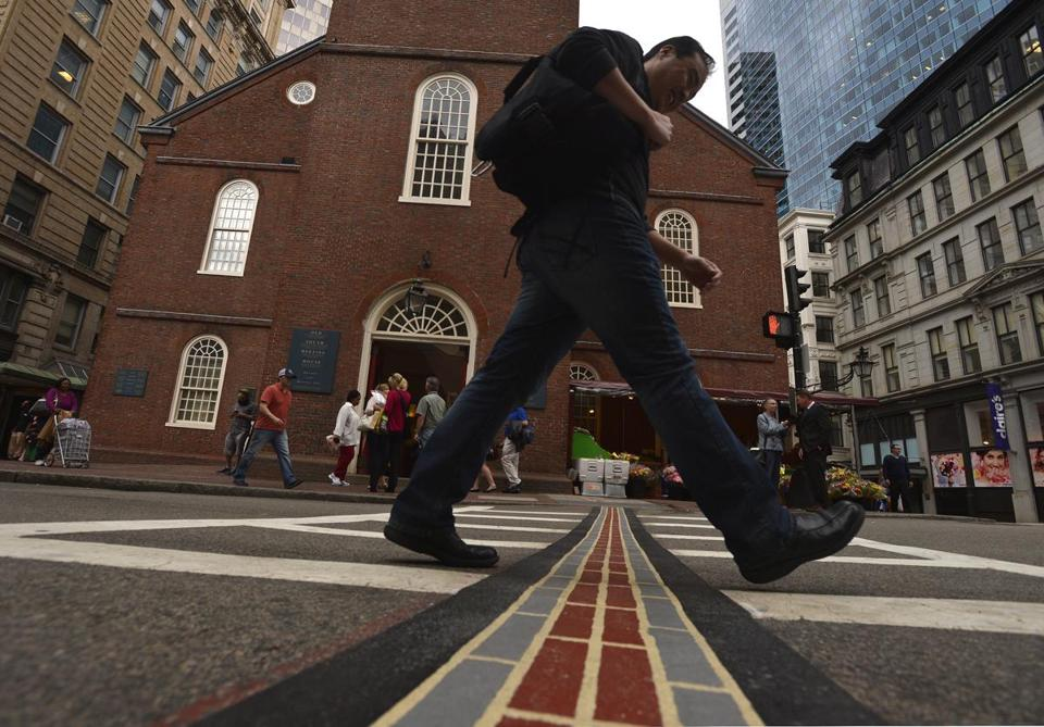 The historic Freedom Trail in Downtown Crossing.