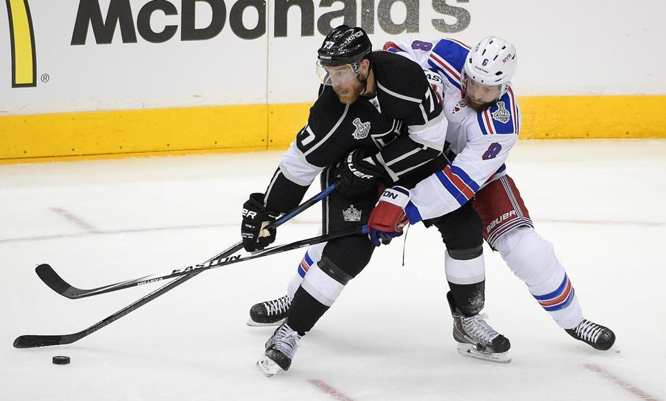 Jeff Carter gave Kevin Klein and the rest of the Rangers fits in Game 1. AP Photo/Mark J. Terrill