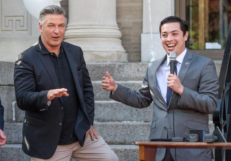 Alec Baldwin (left) was presented with a key to the R.I. city by Mayor James Diossa.