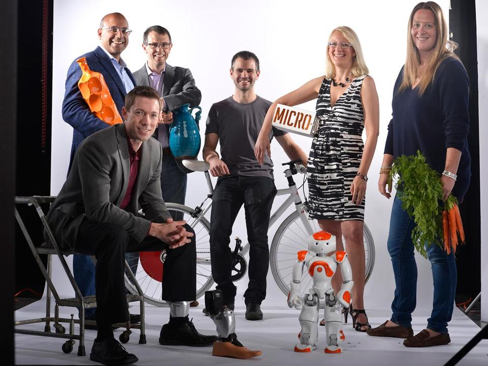 Clockwise from top left: Niraj Shah and Steve Conine, Wayfair; Assaf Biderman, Superpedestrian; Tamara Roy, ADD Inc.; Ashley Stanley, Lovin' Spoonfuls; NAO the robot, Aldebaran Robotics; Brian Frasure, BiOM.