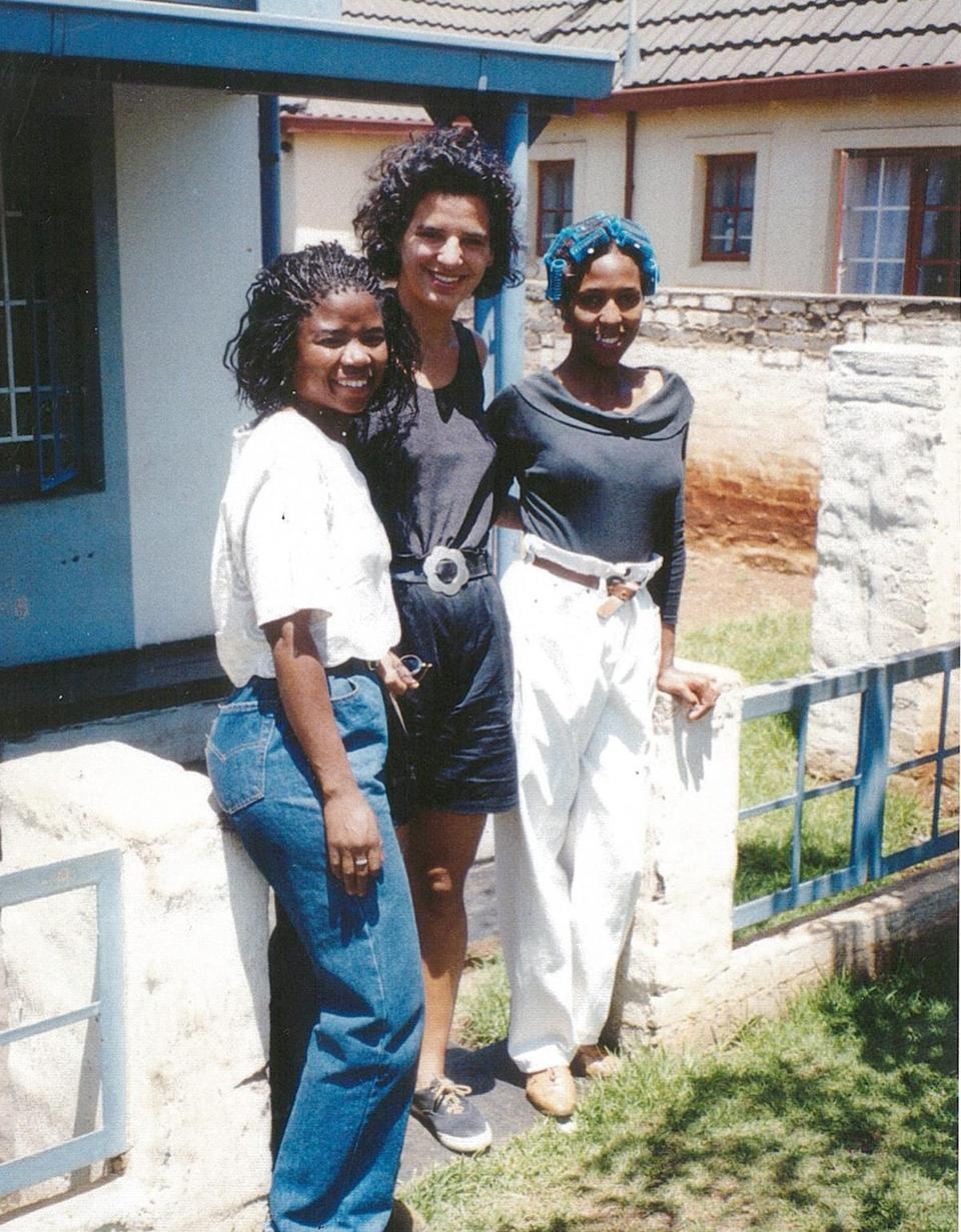 Juliette Kayyem with two of her students in South Africa in the spring of 1992.