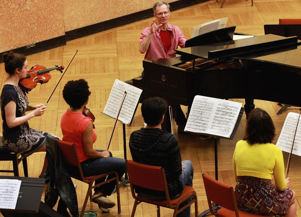 Boston, MA 061014 Members of the Callithumpian Consort and director Stephen Drury (cq), middle, rehearsed at the New England Conservatory in Boston, Tuesday, June10 2014. (Wendy Maeda/Globe Staff) section: Lifestyle slug: 13classno reporter: David Weininger