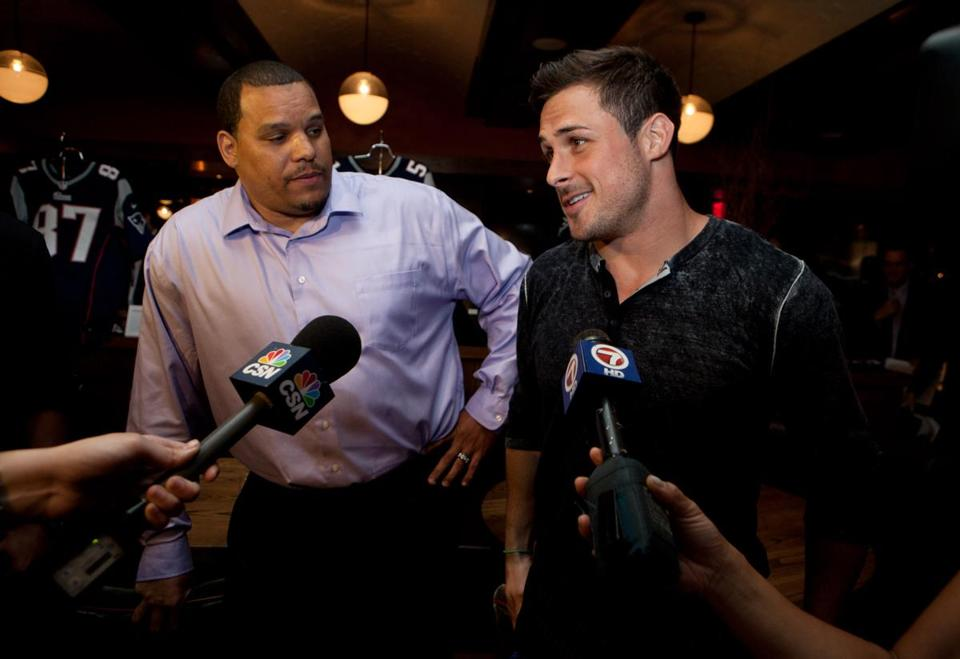 Jermaine Wiggins and Danny Amendola at Town Stove and Spirits.