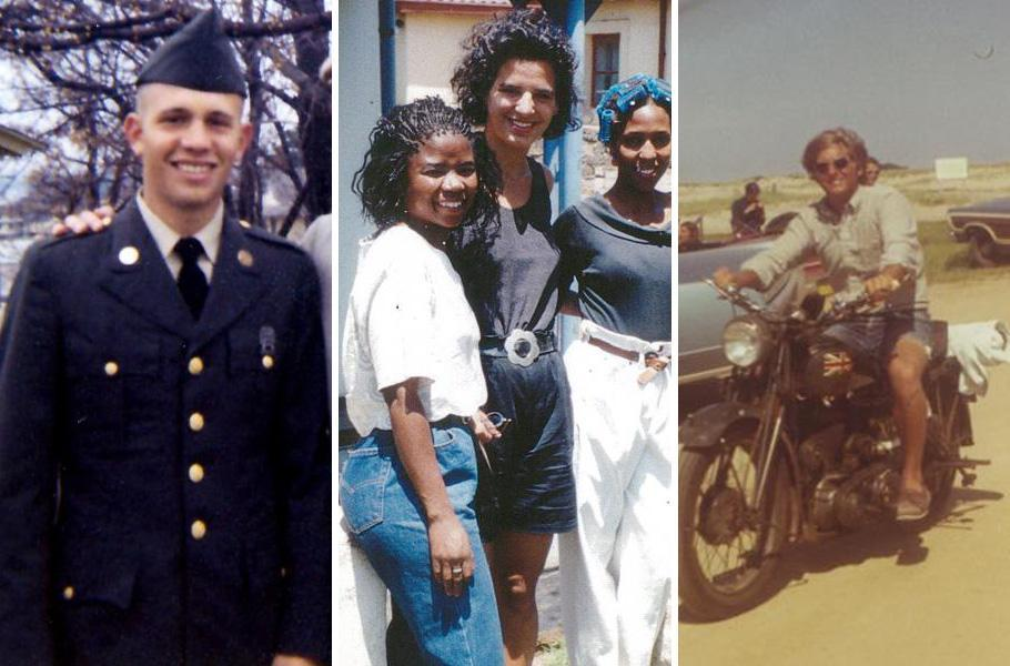 From left:Steve Grossman and his father in 1969, Juliette Kayyem and two of her students in South Africa in 1992, and Joe Avellone on his motorcycle in 1970.