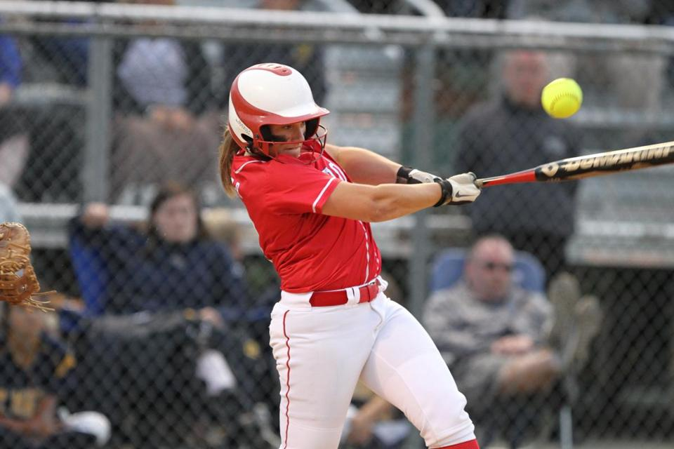 Bridgewater-Raynham's Emily Kurkul's double to center field sparked a fourth-inning rally.