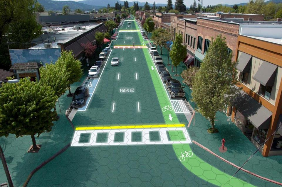 An artist's rendition of downtown Sandpoint, Idaho - Home of Solar Roadways.
