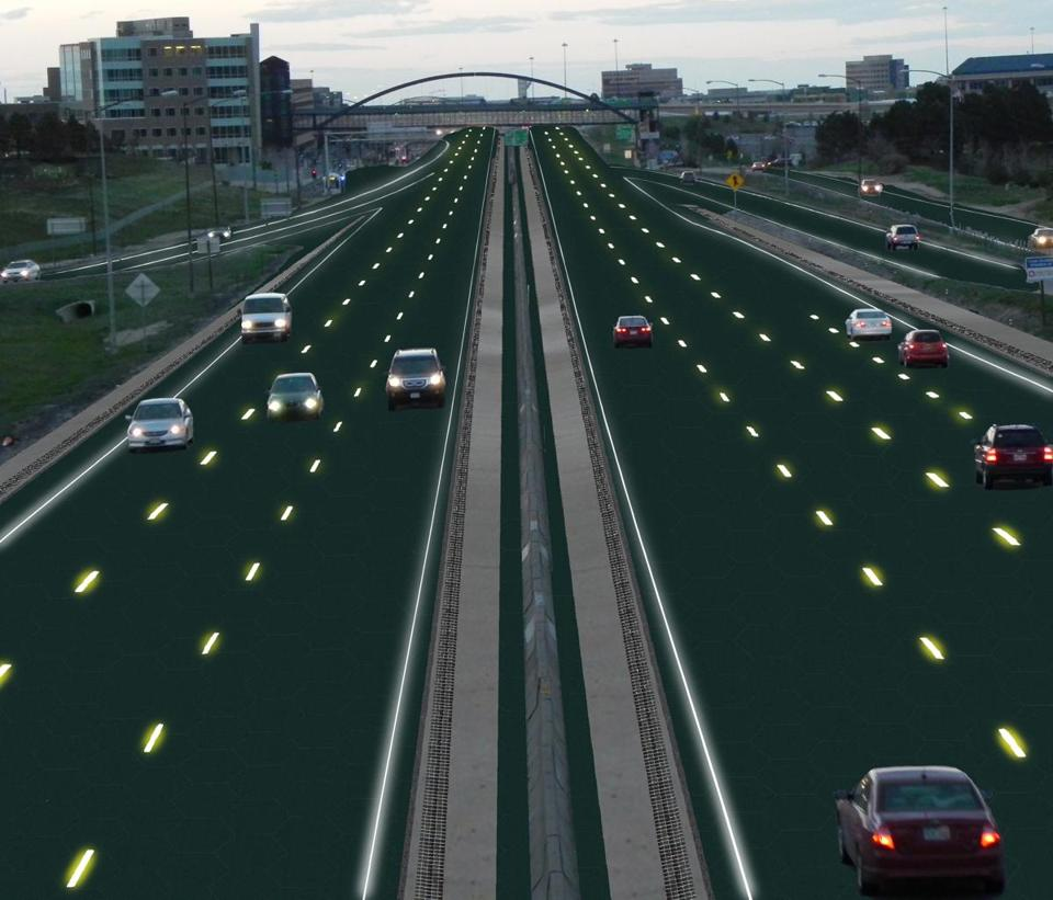 An artist's rendition of an interstate solar roadway.