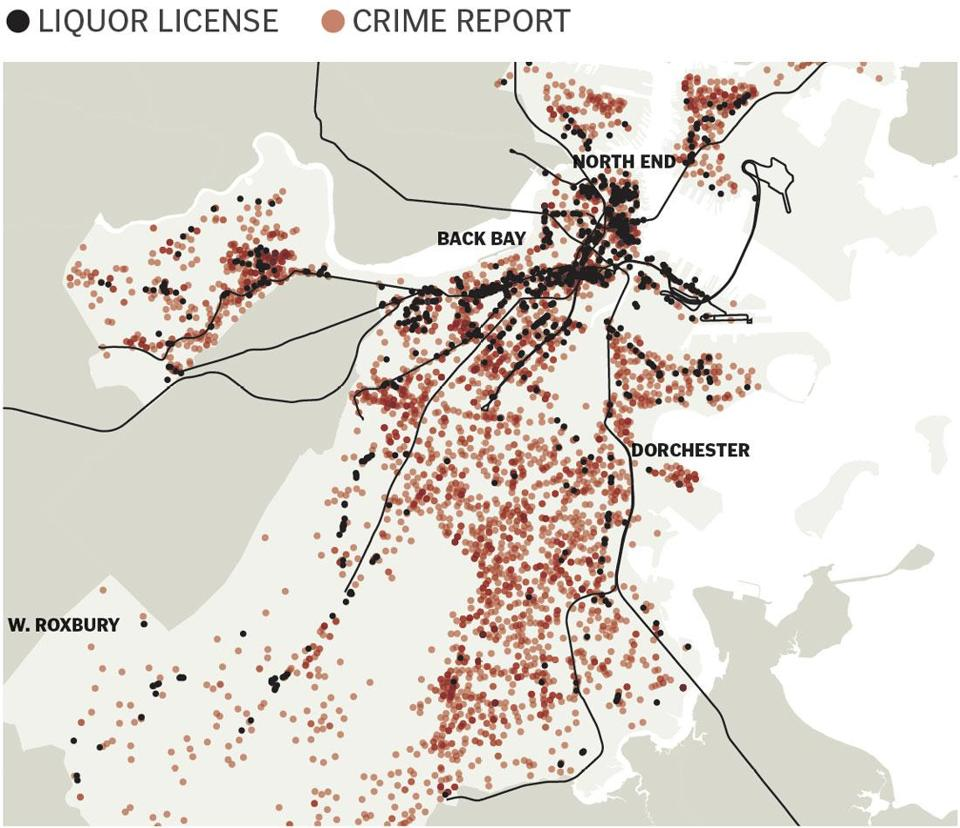 The analysis found some relationship between late-night street crime and the location of liquor licenses but also that some areas, such as the North End, with a high concentration of liquor licenses have relatively low crime rates.