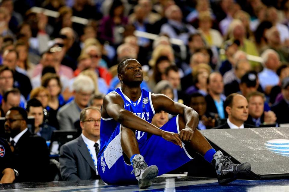 Kentucky forward Julius Randle, who worked out for the Celtics Friday, said he doesn't need foot surgery after the draft, contrary to a Yahoo Sports report. (Photo by Jamie Squire/Getty Images)