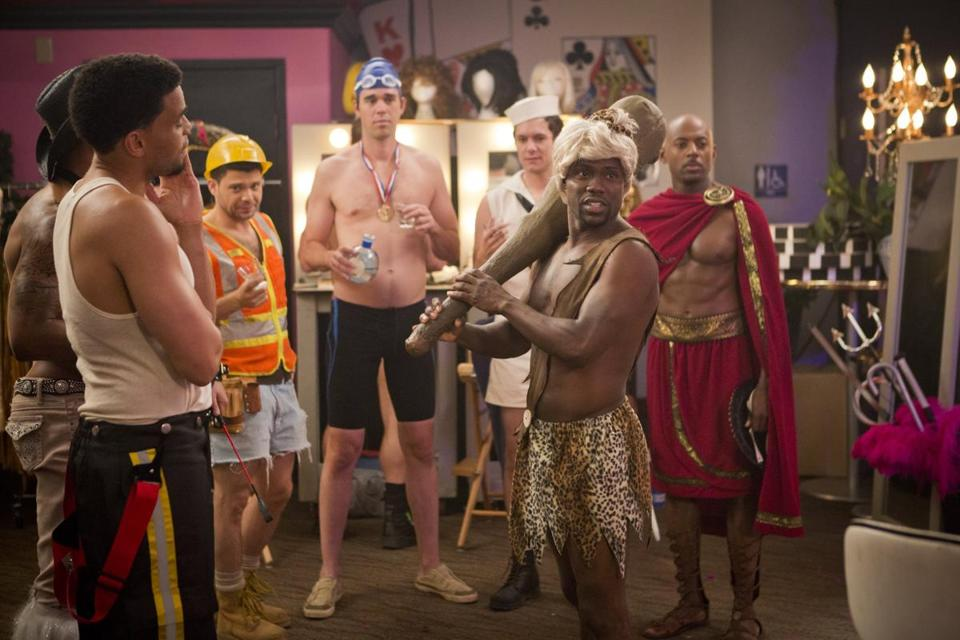 "Kevin Hart (foreground, right) and his friends in a scene from ""Think Like a Man Too."""