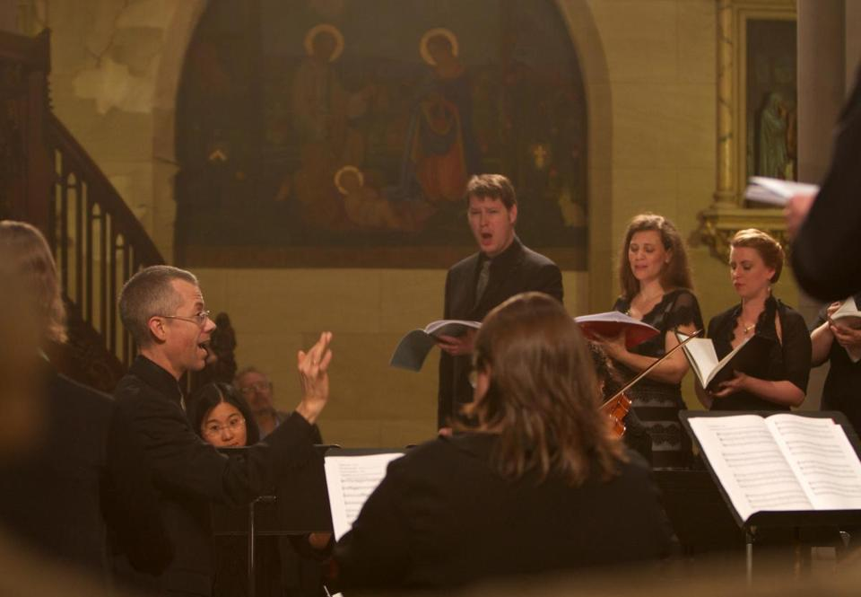 "Scott Metcalfe pictured leading Green Mountain Project in Monteverdi's ""Vespers of the Blessed Virgin"" in New York in 2011."