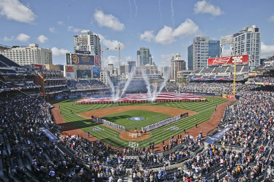 Opening day celebration at Petco Park where the San Diego Padres meet the Los Angeles Dodgers in a baseball game Tuesday, April 1, 2014, in San Diego. The Padres also celebrated opening night on Sunday. (AP Photo/Lenny Ignelzi) -- Baseballbucketlist