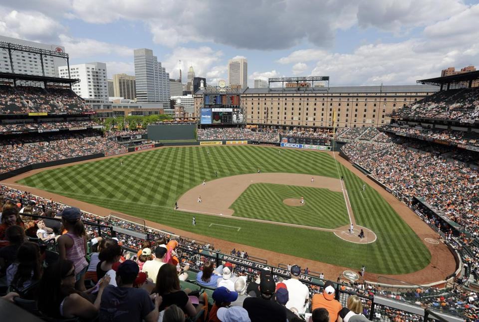 A general view of Oriole Park at Camden Yards during a baseball game between the Baltimore Orioles and the Cleveland Indians, Saturday, May 24, 2014, in Baltimore. (AP Photo/Patrick Semansky) -- Baseballbucketlist
