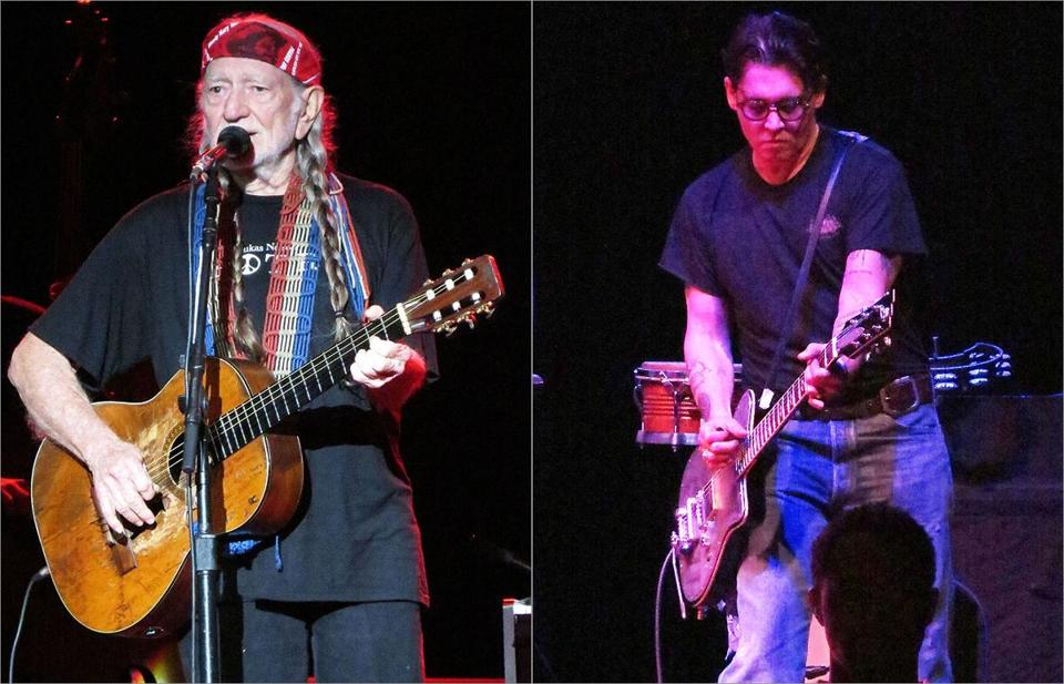 Willie Nelson was joined by the usual members of his Family Band and one special guest, Johnny Depp (right).