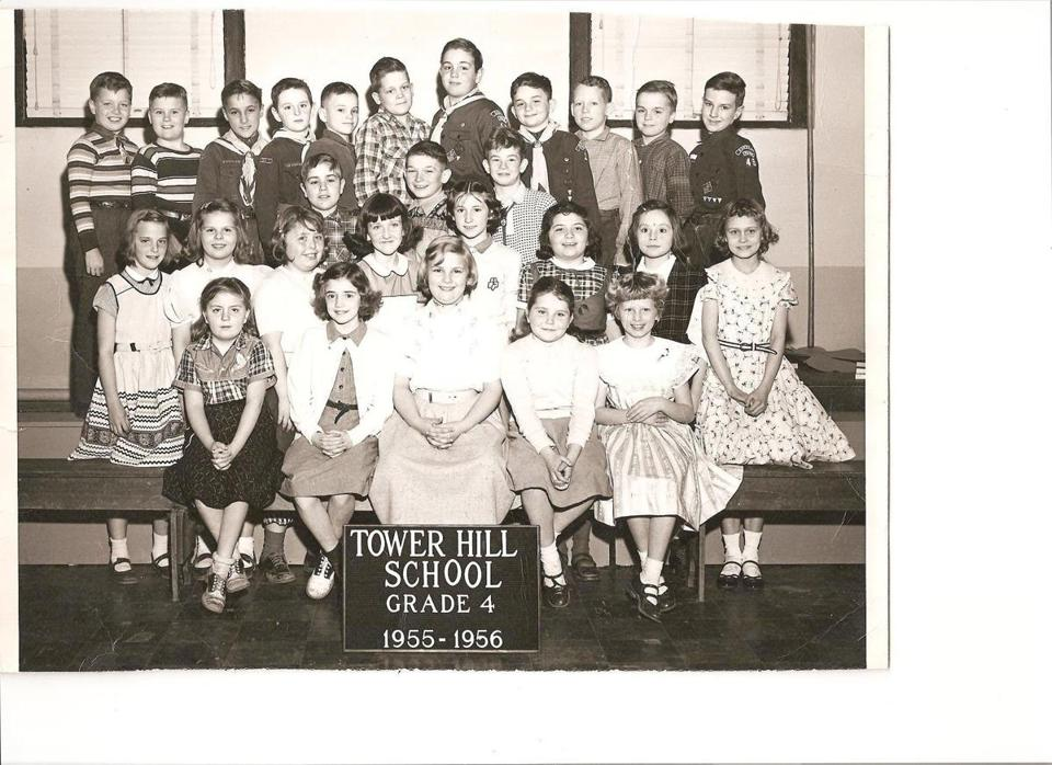 Tower Hill School's fourth grade in 1955-1956. Leo McNamara is in the top row, fourth from the right. The author, then Beverly Curtin, is in the first row, last on the right.