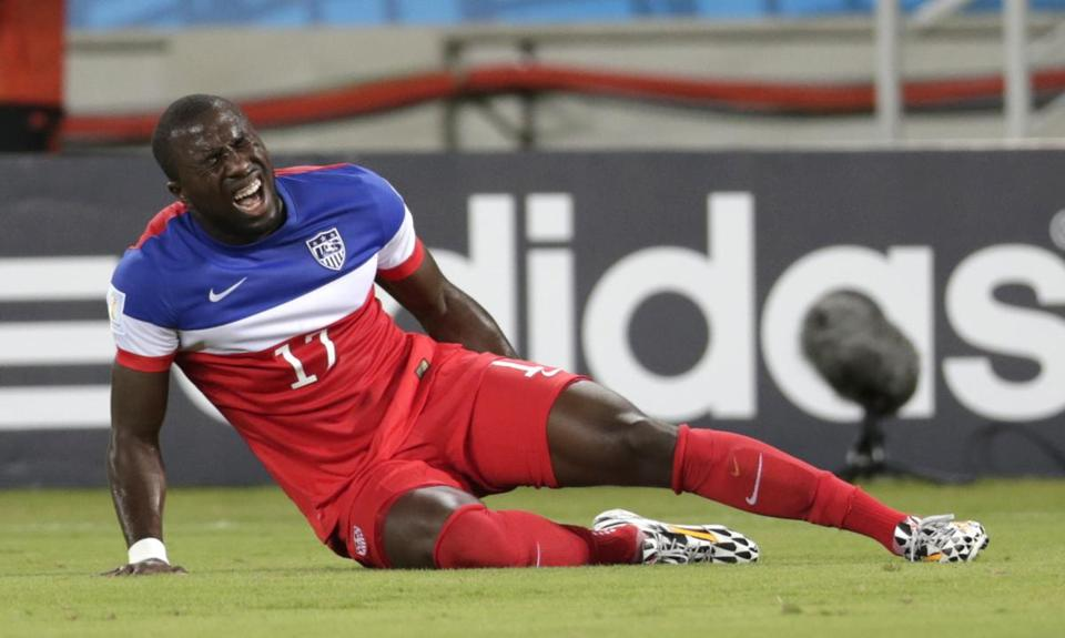 Jozy Altidore was in pain after injuring his hamstring against Ghana Monday. (AP Photo/Dolores Ochoa)