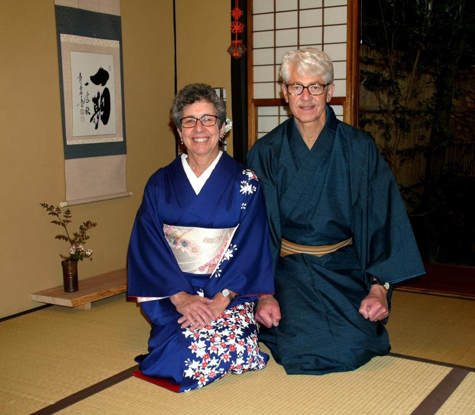 Carol and David Greenfield of Newton experienced a tradtional tea ceremony in Kyoto, Japan.