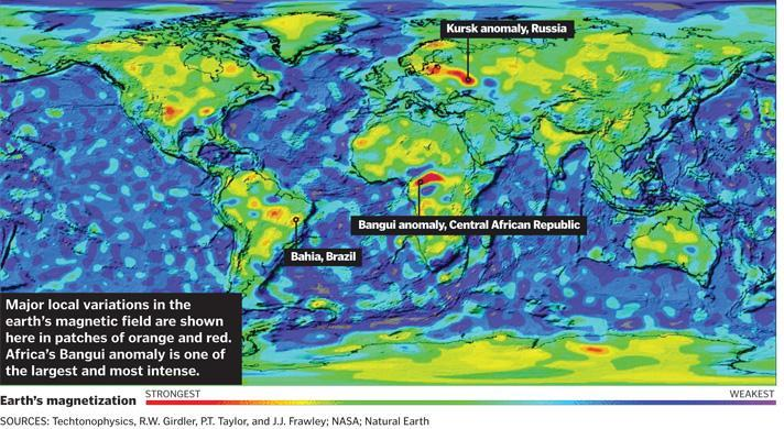 Magnetic Anomaly Map Of The World.The African Country Where Compasses Go Haywire The Boston Globe