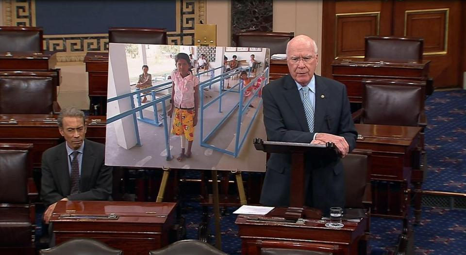 Senator Patrick Leahy, a Vermont Democrat, has spent more than two decades directing federal funding to clear minefields and provide victims with wheelchairs.
