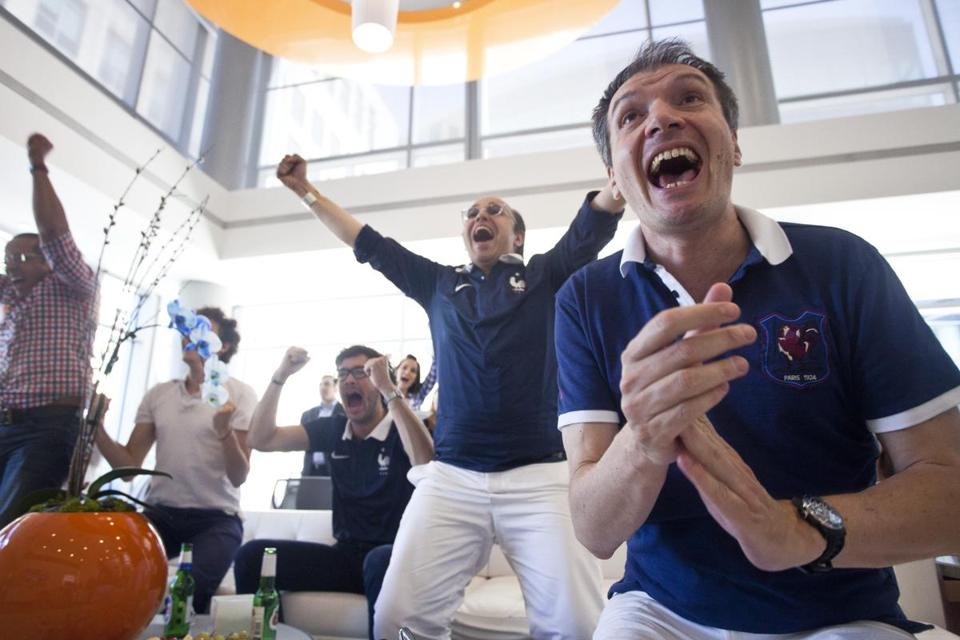 Fans of the French team celebrated a goal at LabCentral in Cambridge on Friday.