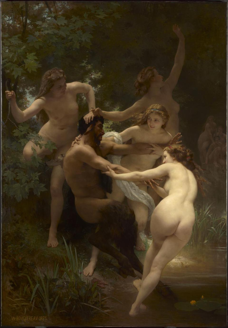 The Clark Art Institute WILLIAM-ADOLPHE BOUGUEREAU FRENCH, 1825Ð1905 NYMPHS AND SATYR 1873 Oil on canvas 102 1/2 x 72 in. (260.4 x 182.9 cm) Frame: 122 1/8 x 90 3/4 x 7 in. (310.2 x 230.5 x 17.8 cm) Acquired by Sterling and Francine Clark, 1942 1955.658 Photo credit: Courtesy of The Clark Art Institute -- 29Clark